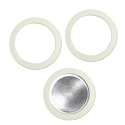 Bialetti filter and gaskets for 3 cups coffee makers made of aluminum