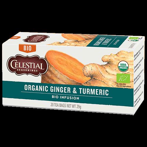 Celestial tea Organic Ginger & Turmeric tea bags 20pcs