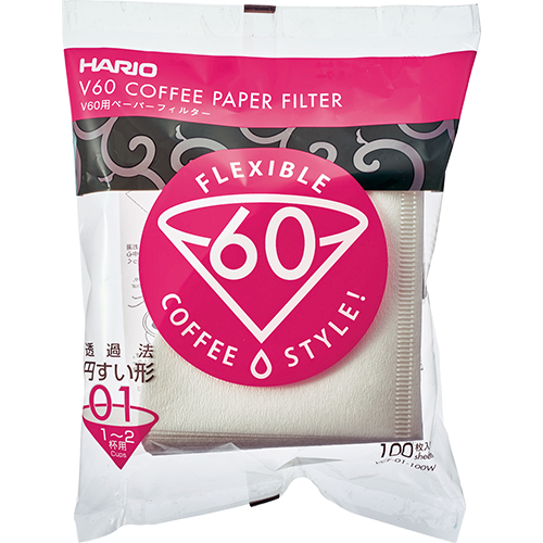 Hario V60 Coffee filter in white paper size 01 100pcs