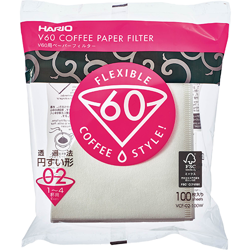 Hario V60 Coffee filter in white paper size 02 100pcs