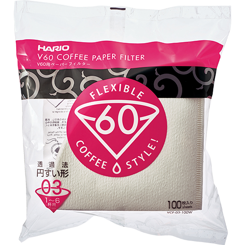 Hario V60 Coffee filter in white paper size 03 100pcs