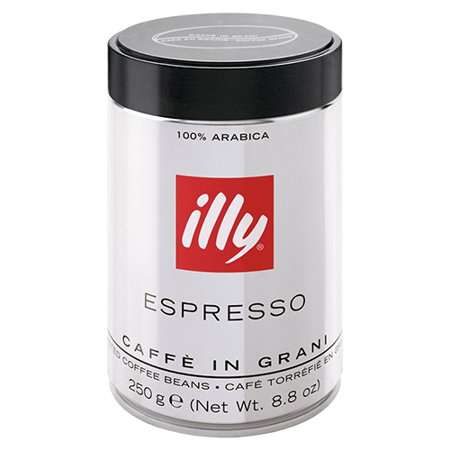 illy Espresso dark roast tincan coffee beans 250g