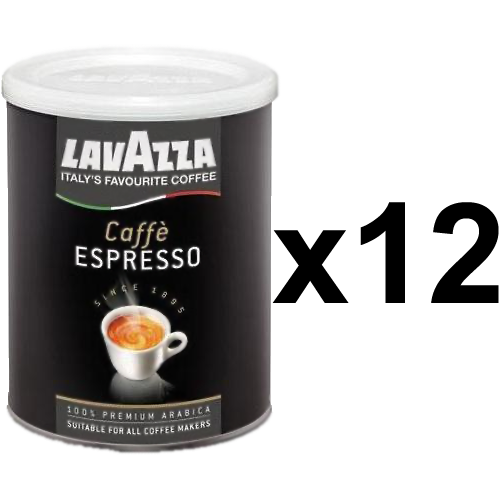 Lavazza 100% Arabica tincan ground coffee 250g x12