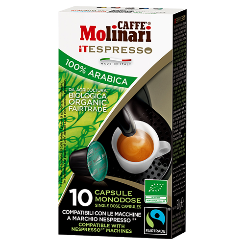 Molinari itespresso Bio 100% Arabica Nespresso coffee capsules 10pcs