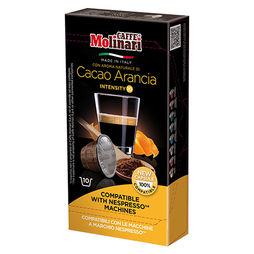 Molinari Cacao Arancia coffee capsules for Nespresso 10pcs