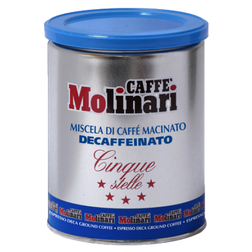 Molinari Cinque Stelle decaffeinato tincan ground coffee 250g