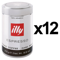 illy Espresso dark roast ground coffee 250g x12